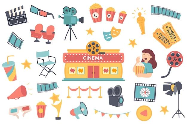 Ensemble d'objets isolés de cinéma collection de clapper lunettes 3d caméra pop-corn oscar statuette