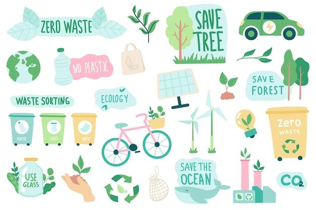 Ensemble d'objets isolés écologie et zéro déchet collection de citations écologiques vertes renouvelables