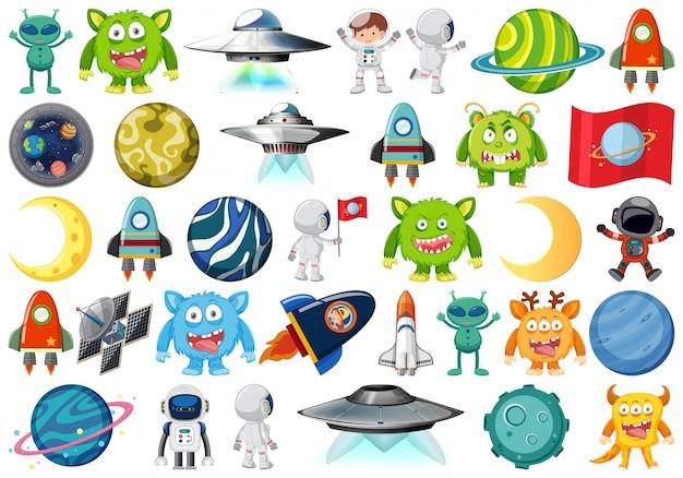 Ensemble d'objets isolés sur l'espace