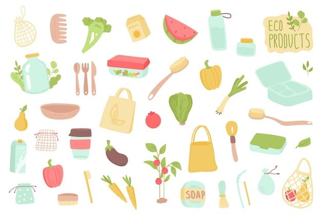 Ensemble d'objets isolés de produits écologiques collection de vaisselle en bois bouteilles en verre de brosse à dents