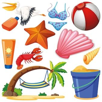 Ensemble d'objets isolés thème vacances d'été