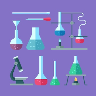 Ensemble d'objets de laboratoire scientifique