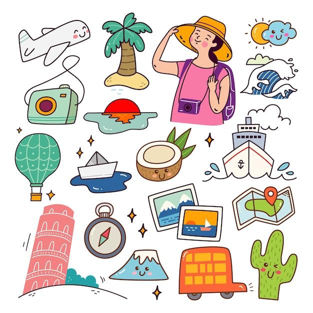 Ensemble d'objets liés au voyage kawaii doodle