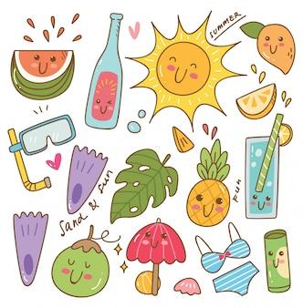 Ensemble d'objets liés de l'été dans un style kawaii doodle