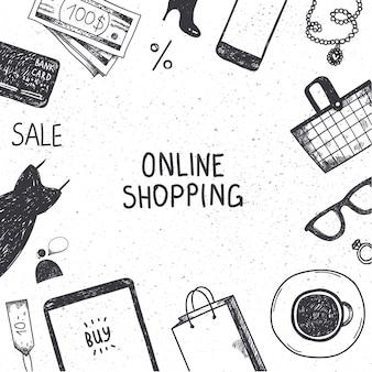 Ensemble d'objets en ligne shopping dessinés à la main, illustration, icônes. bannière, affiche, carte noir et blanc