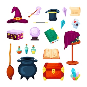 Ensemble d'objets de magicien magique