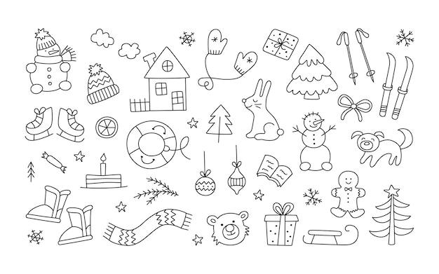 Ensemble d'objets de noël d'hiver dans un style doodle. bonhomme de neige dessiné à la main, mitaines, patins, arbre de noël