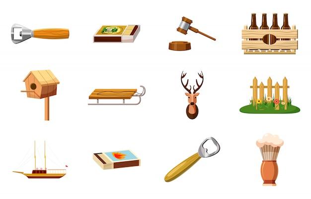 Ensemble d'objets et d'objets en bois. jeu de dessin animé d'objet en bois