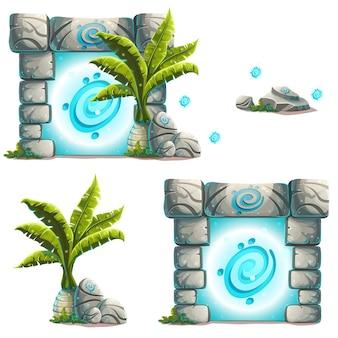 Ensemble d'objets palmier, un portail magique, rocher.