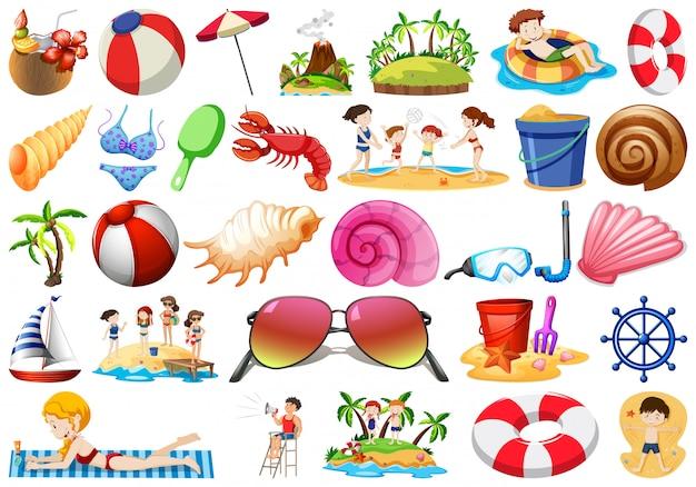 Ensemble d'objets de plage différents