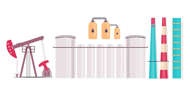 Ensemble d'objets plats de raffinerie