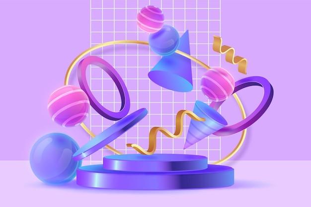 Ensemble d'objets de rendu 3d abstrait