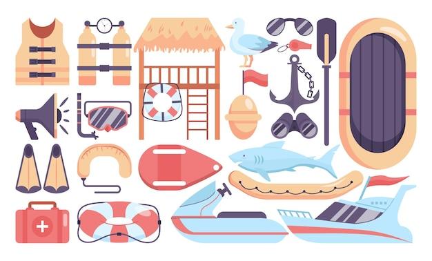 Ensemble d'objets de sauveteur de plage. ensemble de loisirs de vacances d'été. tour de sauveteur