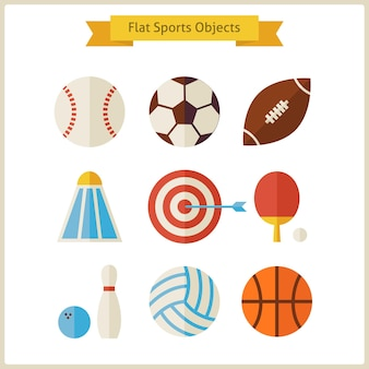 Ensemble d'objets de sport plat. collection d'objets de sport de mode de vie sain isolé sur blanc. compétition d'activités sportives et jeux de sport d'équipe