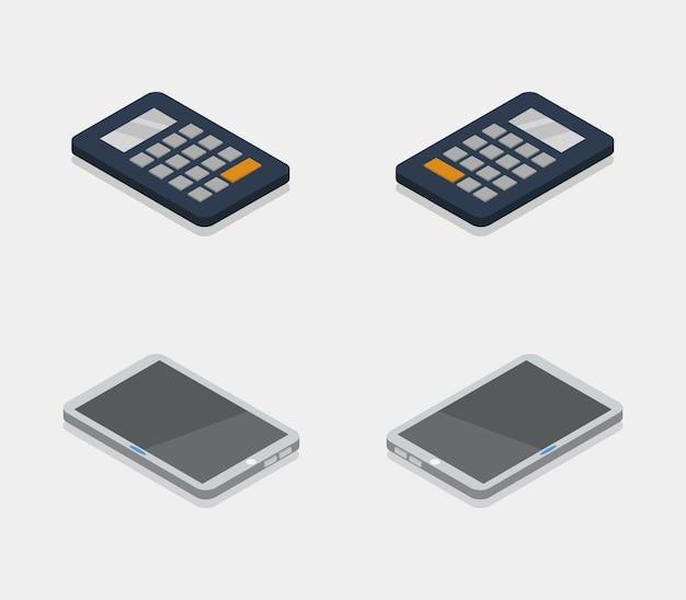 Ensemble d'objets technologiques isométriques