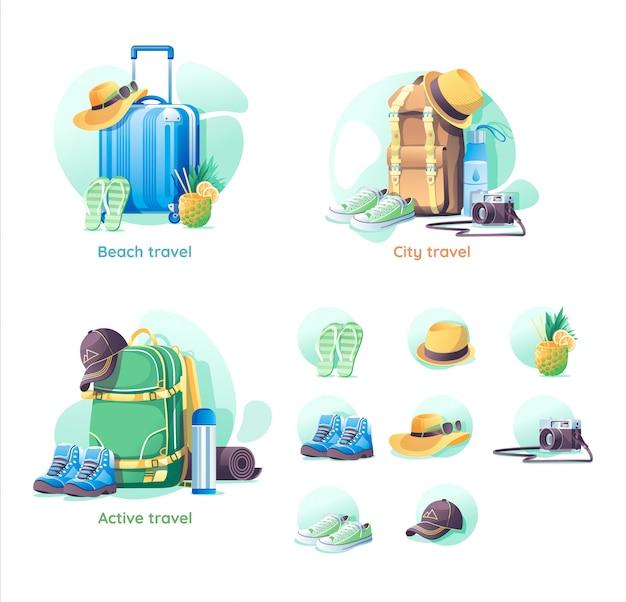 Ensemble d'objets de voyage isolés