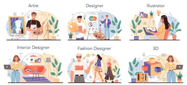 Ensemble d'occupation artistique. designer de mode, d'intérieur et 3d, artiste et illustratrice. collection de loisirs créatifs et de professions modernes. illustration vectorielle isolé