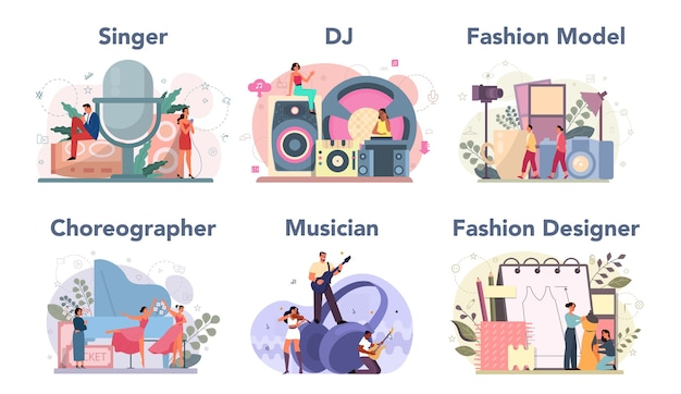 Ensemble d'occupation créative. créateur de mode et dj au travail, danseur et musicien. collection de passe-temps et de profession moderne.