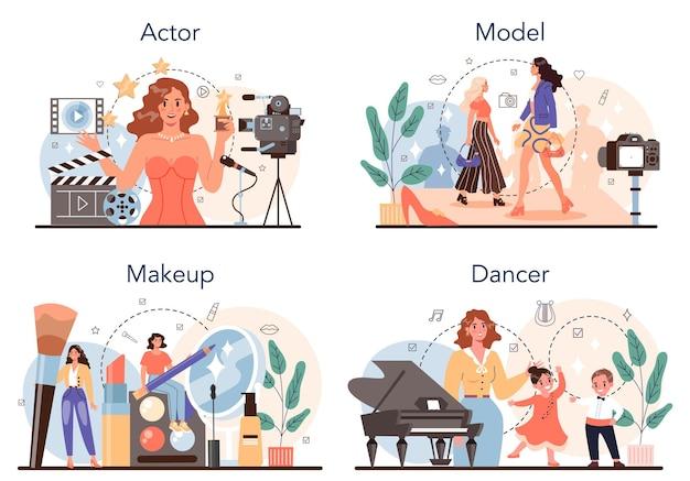 Ensemble d'occupations artistiques et du spectacle. acteur, danseur, maquilleur et mannequin. collection de professions modernes. illustration vectorielle plane