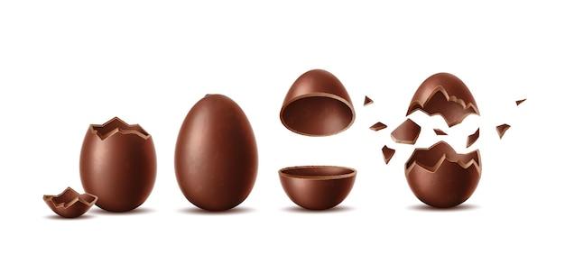 Ensemble d'oeufs en chocolat réalistes coquille d'oeuf éclatée cassée deux moitiés symbole de pâques