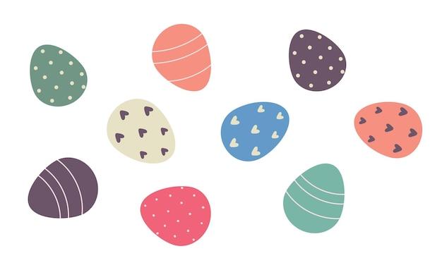 Ensemble d'oeufs décorés isolé sur fond blanc. illustration vectorielle