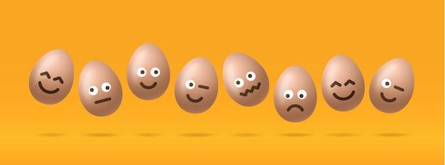 Ensemble d'oeufs de pâques bruns avec caractère emojis