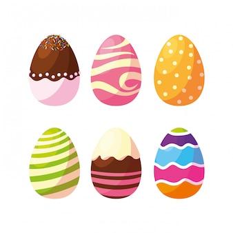 Ensemble d'oeufs de pâques décorés avec des bonbons