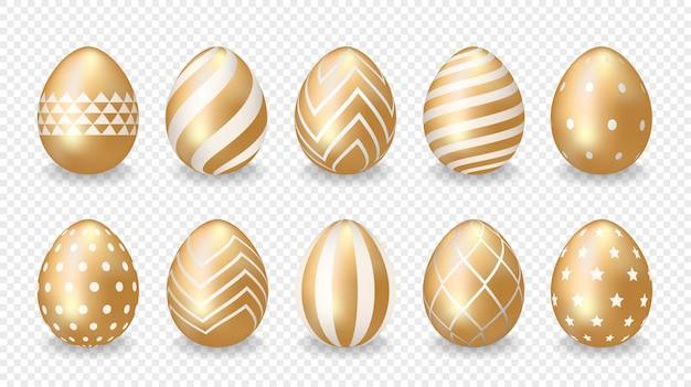 Ensemble d'oeufs de pâques d'or