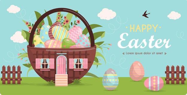 Un ensemble d'oeufs de pâques peints aux couleurs vives et une jolie petite maison vector illustration
