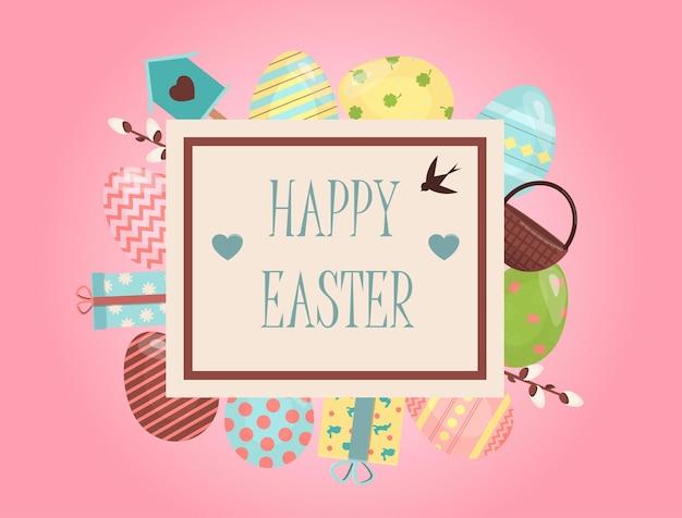 Un ensemble d'oeufs de pâques peints de couleurs vives illustration vectorielle avec un joyeux souhait de pâques