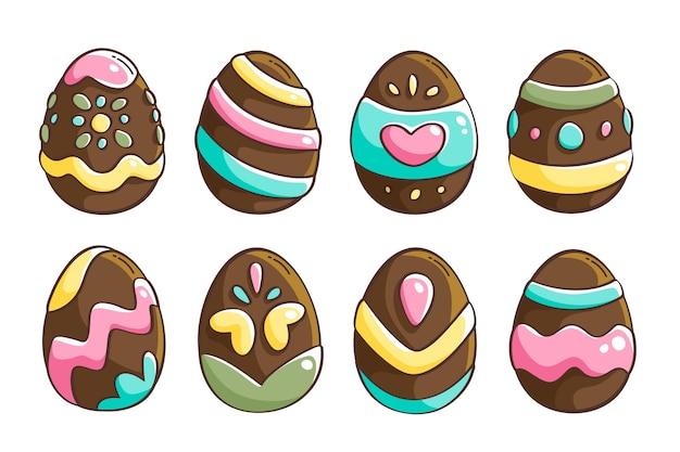 Ensemble d'oeufs de pâques en pointillés dessinés à la main