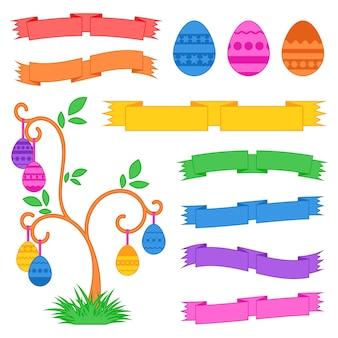 Ensemble d'oeufs de pâques sucrés isolés colorés et rubans
