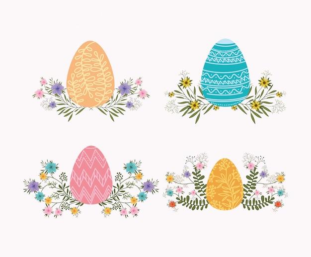 Ensemble d'oeufs peints et icônes de pâques de fleurs