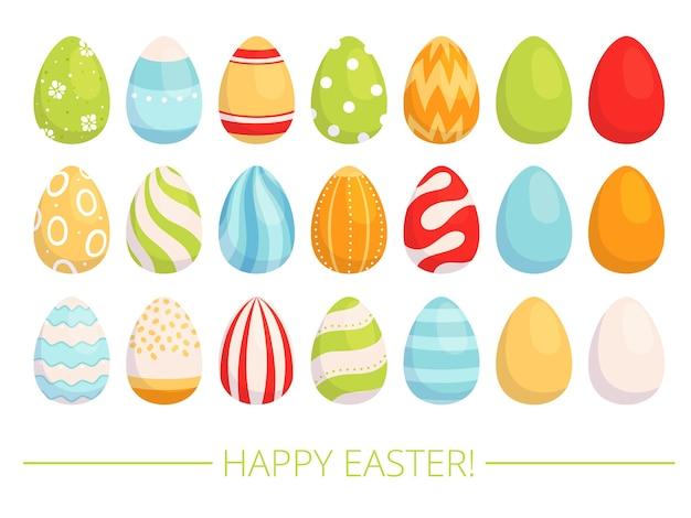 Ensemble d'oeufs peints de pâques, oeufs joliment décorés pour les vacances. design plat. isolé sur fond blanc