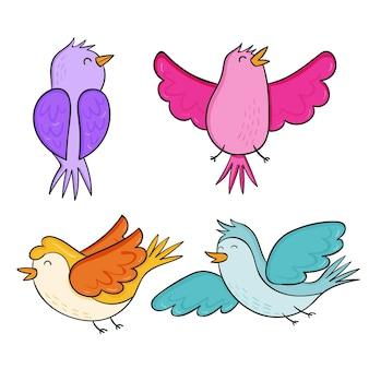 Ensemble d'oiseaux d'automne dessinés à la main