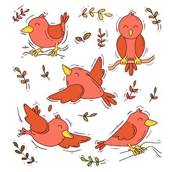 Ensemble d'oiseaux dessinés à la main
