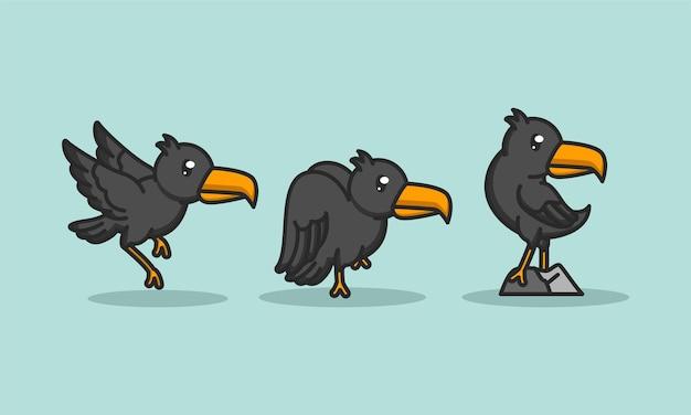Ensemble d'oiseaux mignons de corbeau