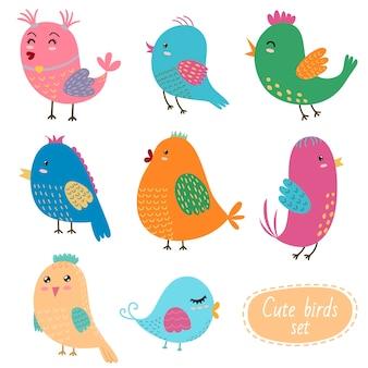 Ensemble d'oiseaux mignons.