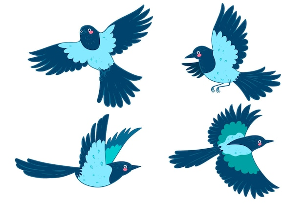Ensemble d'oiseaux de pie isolé