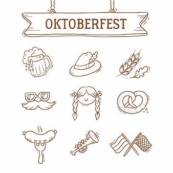 Ensemble oktoberfest, bière, moustache, drapeaux, saucisse, chapeau
