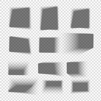 Ensemble d'ombre de boîte. ombres carrées réalistes avec des bords doux. ombre portée sur le sol. maquette transparente de vecteur.