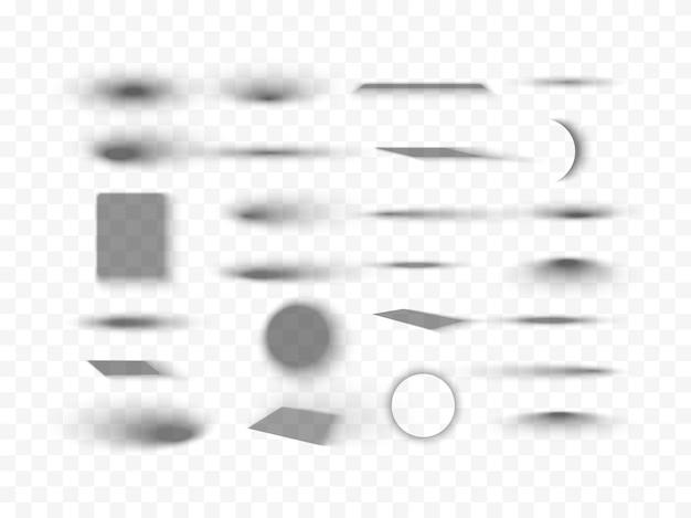 Ensemble d'ombres réalistes vectorielles isolées d'effets d'ombre ronds et carrés