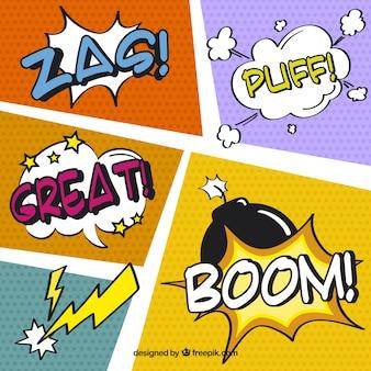 Ensemble de onomatopées et des vignettes de bandes dessinées