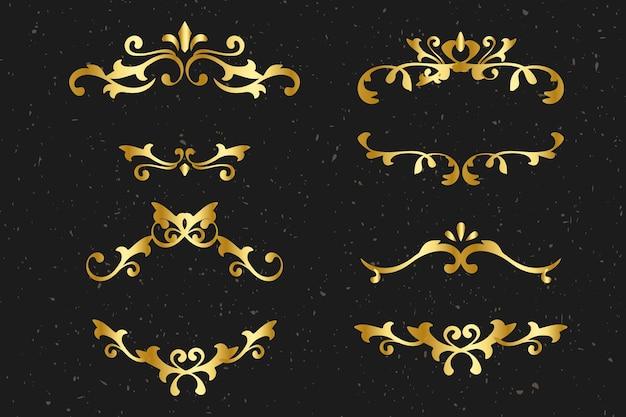 Ensemble d'or de cadre ornemental vecteur élégant
