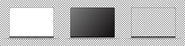Ensemble d'ordinateur portable moderne. ordinateur portable avec écran blanc. isolé sur fond transparent. illustration réaliste.