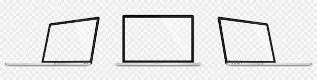 Ensemble d'ordinateur portable réaliste. maquette d'ordinateurs portables 3d. écran blanc isolé sur fond transparent
