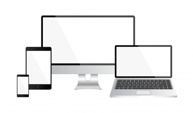 Ensemble d'ordinateur réaliste, plasma lcd, ordinateur portable et smartphone isolé sur blanc.