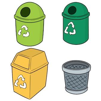 Ensemble d'ordures de recyclage