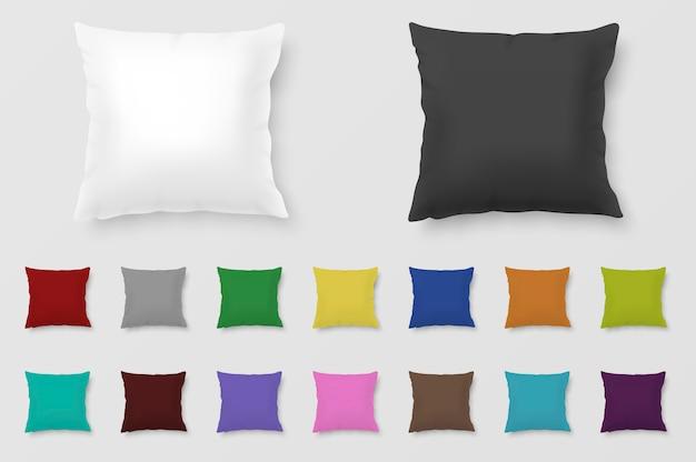 Ensemble d'oreillers colorés réalistes