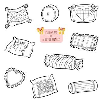 Ensemble d'oreillers noir et blanc, collection de dessins animés vectoriels